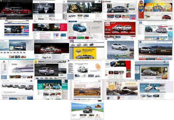 Screenshots von Internetauftritten von 26 verschiedenen Automobilherstellern (September 2008)