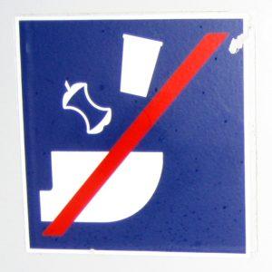 Aufkleber in der Toilette eines IC-Wagons der DB