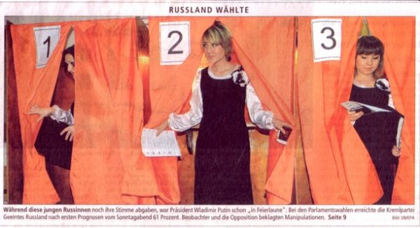 Salzburger Nachrichten Titelbild zu Wahlen in Russland im Dezember 2003