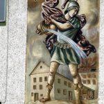 St. Florian. Malerei auf der Fassade eines Privathauses