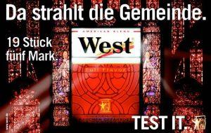 Kirchenfester. West-Zigarettenwerbung 2000 oder 2001