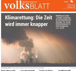 Titelbild - Klimawandel - Volksblatt - 9.10.18