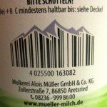 Strichcode in Form von Gebirge auf einer Schlagrahmverpackung von Müller Milch